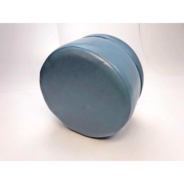 1960s Vintage Mid Century Blue Vinyl Round Foot Stool Ottoman For Sale - Image 5 of 12