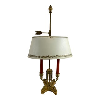 Louis XVI Style Bouillotte Lamp With White Tole Shade For Sale