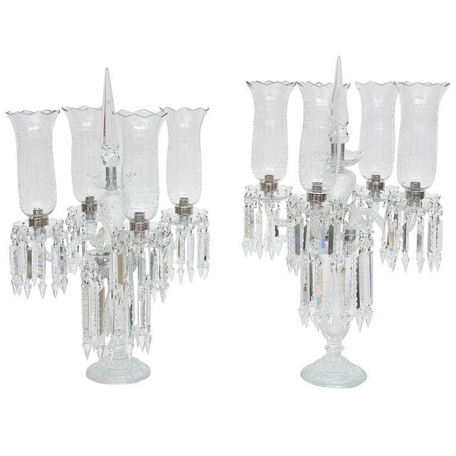 "Cut-Crystal Girandole Baccarat Style, French Regency 19c 33"" High For Sale - Image 12 of 13"