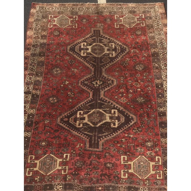 "Vintage Persian Shiraz Area Rug - 5'7""x8'1"" - Image 3 of 11"