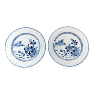Chinese Large Cobalt Blue Hand Painted Decorations Porcelain Plates/Trays - a Pair For Sale