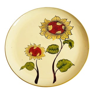 Large Vintage Lacquerware Sunflower Tray For Sale