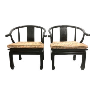 Vintage Chinese Horseshoe Chairs in Black Lacquer by Century Chair Co For Sale