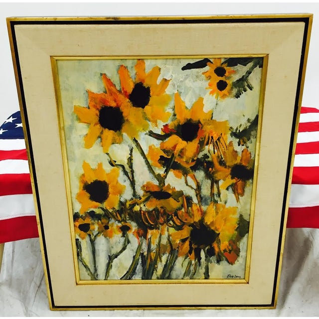 Mid 20th Century Vintage Original Elva Levy Framed & Signed Sunflower Painting For Sale - Image 5 of 11