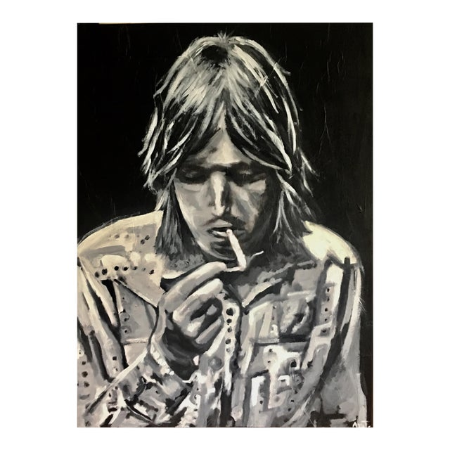 """Tom Petty the Heartbreaker"" Black & White Painting For Sale"