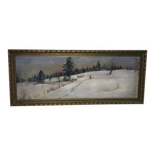 1960s Vintage Snowy Country Landscape & Figure Painting by E. Rouse For Sale