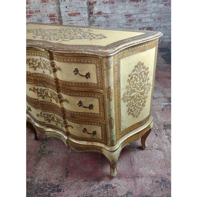 Wood Beautiful Italian Florentine Gilt Chest of Drawers Commode For Sale - Image 7 of 10