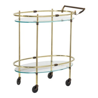 Oval Bar Cart With Glass Shelves 1960s For Sale