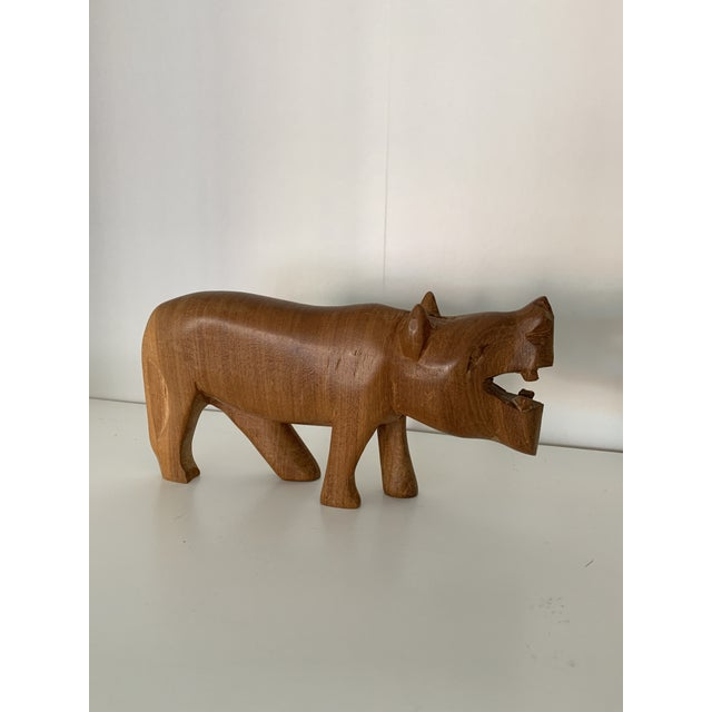 Vintage Hand Carved Wooden African Hippo For Sale In Minneapolis - Image 6 of 6