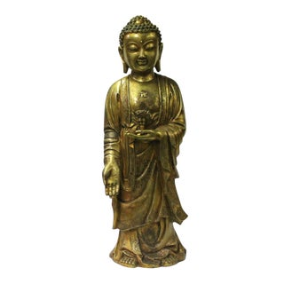 Chinese Rustic Bronze Metal Standing Buddha Swastika Symbol Statue For Sale