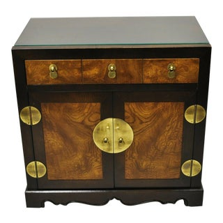Chinoiserie Century Furniture Burlwood & Brass Chest End Table For Sale