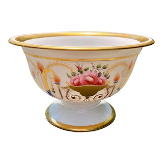 19th English Traditional Davenport Gilt Decorated Billingsley Roses Bowl For Sale