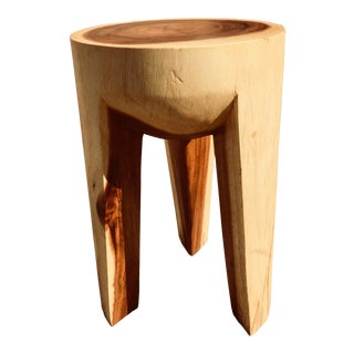 Acacia Wood Three Leg Stool For Sale