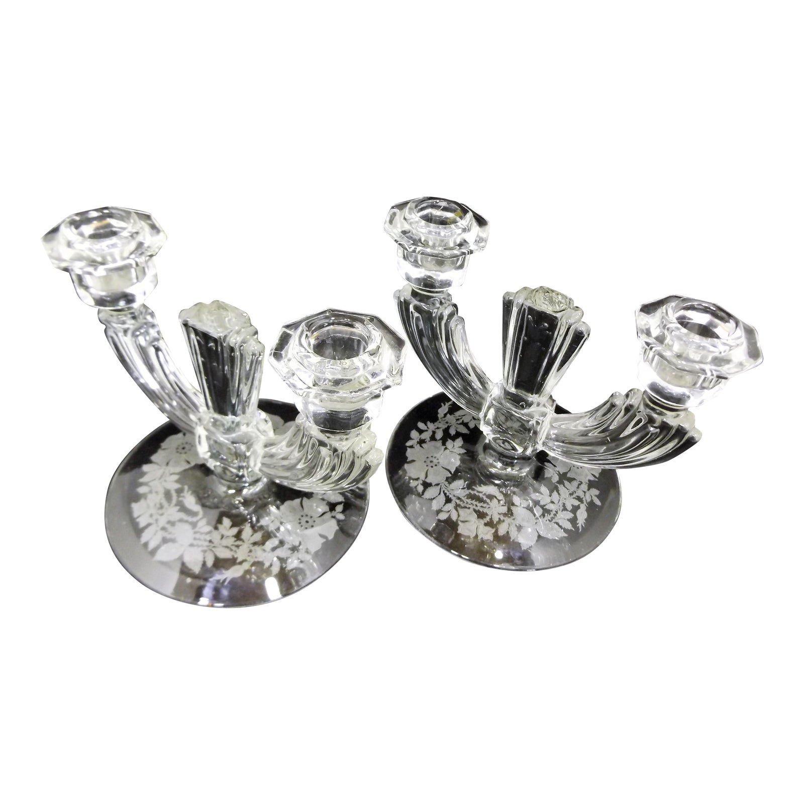 Vintage Art Deco Crystal Glass 2 Stick Candle Holders By