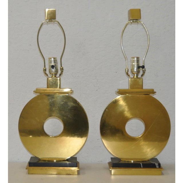 Pair of Vintage Brass & Marble Table Lamps Made from solid brass and marble, these fantastic vintage table lamps will look...