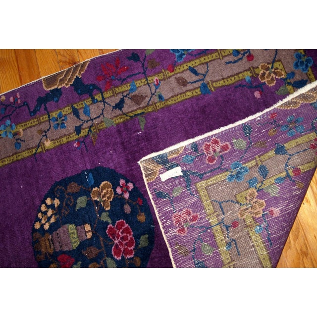 1920s, Hand Made Antique Art Deco Chinese Rug 2.10' X 4.9' For Sale - Image 11 of 13