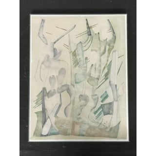 Abstract Expressionist Cactus Desert Watercolor on Paper, J. Toor, 1973 Preview