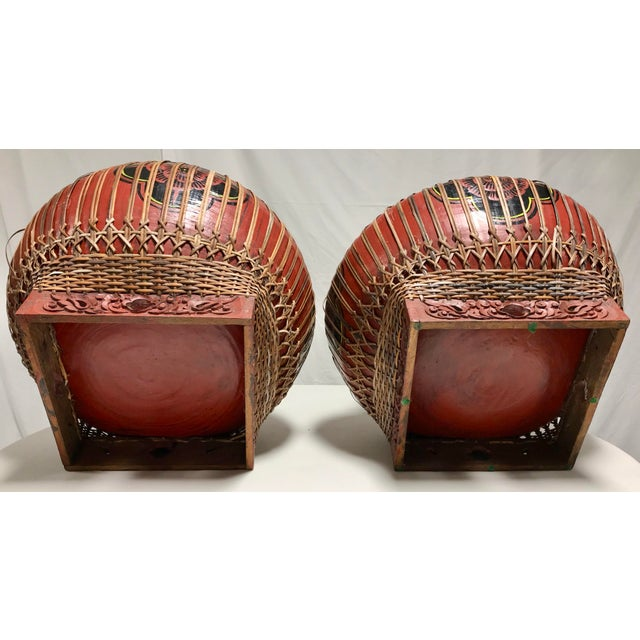 Early 20th Century Vintage Asian Paper Mâché Coated Rattan Storage Containers- A Pair For Sale - Image 10 of 11