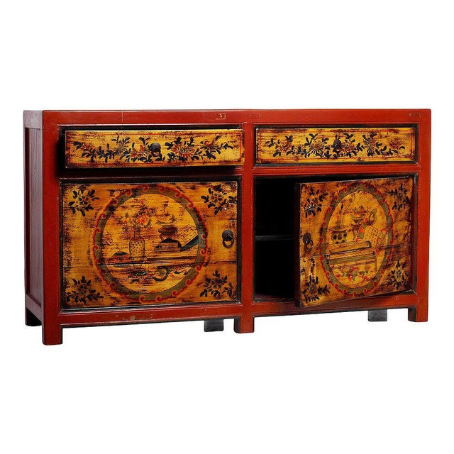 Asian Mongolian Late 1800s Hand-Painted Red Lacquer Cabinet with Black and Gold Décor For Sale - Image 3 of 6