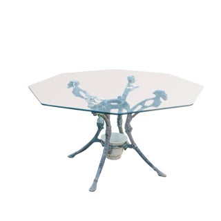 "1960s Americana Woodard ""Trianon"" Outdoor Octagonal Glass Top Table For Sale"
