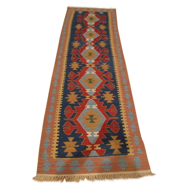 "Turkish Kilim Runner Rug - 2'6"" x 9'6"" For Sale"