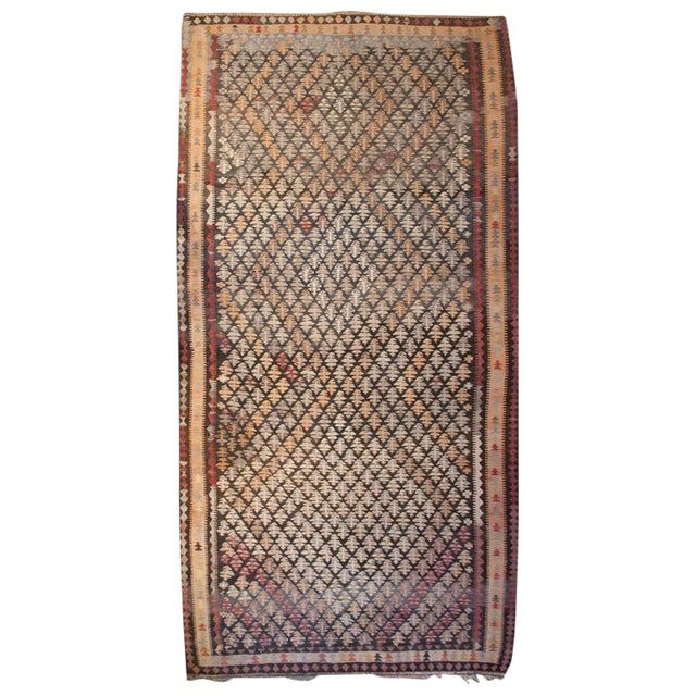 """Early 20th Century Qazvin Kilim Runner - 61"""" x 132"""" For Sale"""