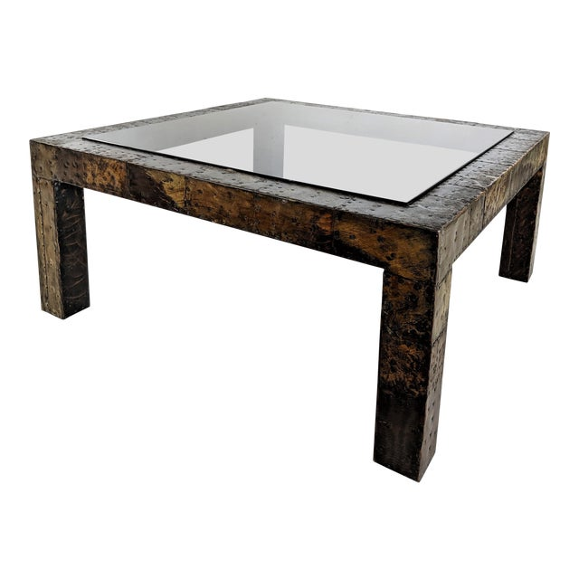 1960s Mid-Century Modern Paul Evans Brutalist Mixed Metals Patchwork Coffee Table For Sale
