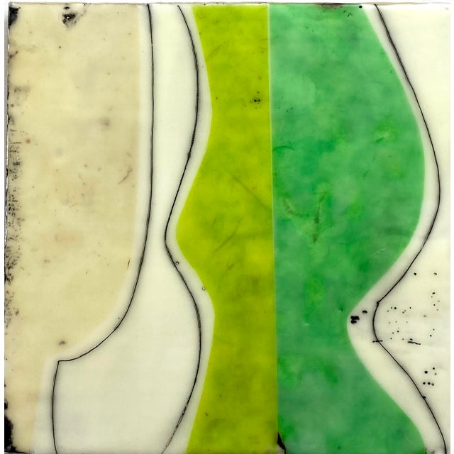 """""""Bodies in Motion"""" Encaustic Collage by Gina Cochran - 16 Piece Installation For Sale - Image 11 of 13"""