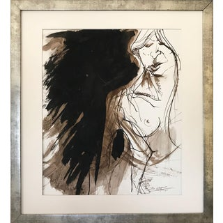 Vintage Modernist Nude Mixed Media Painting by Gerard Haggerty 1967 For Sale
