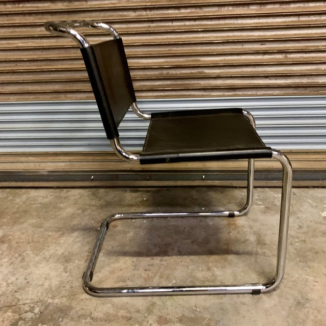 Vintage Mid Century Mart Stam Leather and Chrome Cantilever Chairs- A Pair For Sale - Image 10 of 13