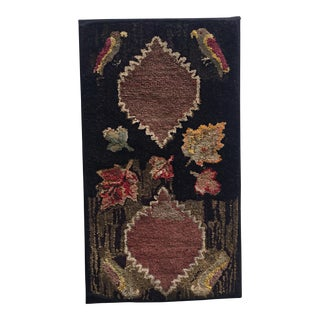 "Early 20th Century Antique American Folk Art Hooked Mounted Rug -- 2'1"" x 3'9"""
