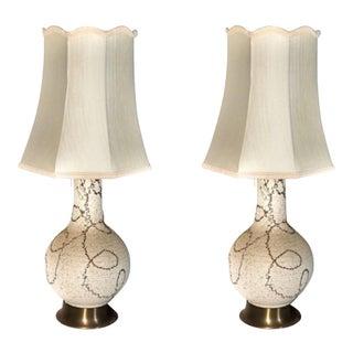 Mid Century Modern White Gold Ceramic Lamps - Set of 2