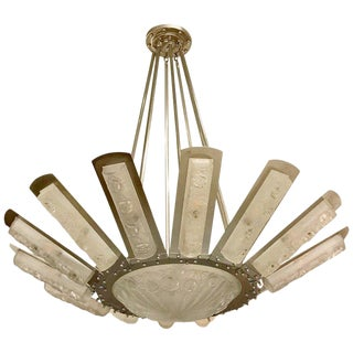 French Art Deco Starburst Chandelier by Degué For Sale