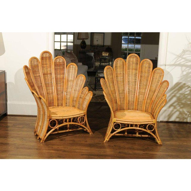 Mid-Century Modern Majestic Restored Pair of Vintage Rattan and Wicker Palm Frond Club Chairs For Sale - Image 3 of 13