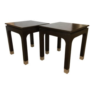 Vintage Mid-Century Modern Grasscloth End Tables - a Pair For Sale