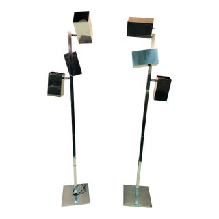 Koch & Lowy Modernist Polished Chrome Floor Lamps- a Pair For Sale