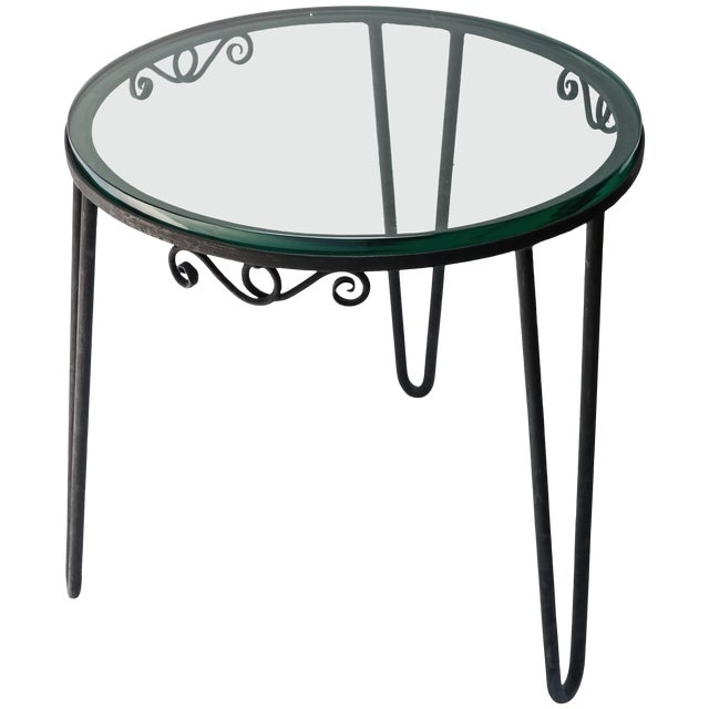 1960s Italian Round Metal Side Table With Glass Top For Sale