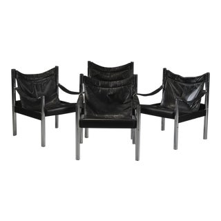 Vintage Mid Century Black Leather Chrome Safari Chairs- Set of 4 For Sale