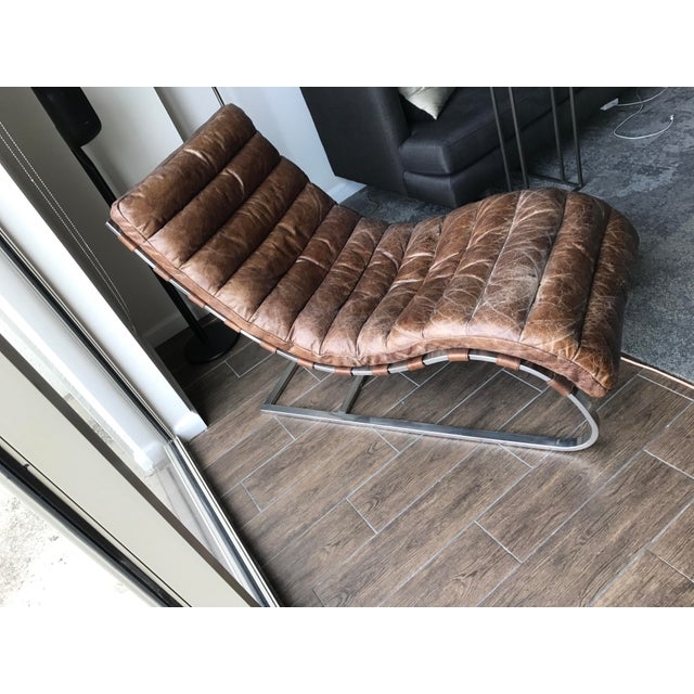 Restoration Hardware Leather Chaise - Image 3 of 6