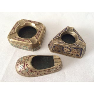 1970s Three Vintage Etched Painted Brass Indian Ash Trays - Set of 3 Preview