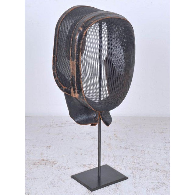 Antique French Leather and Wire Mesh Fencing Mask on Custom Iron Stand For Sale - Image 4 of 4
