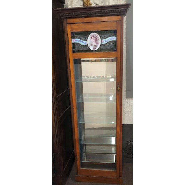 Wood Antique Perfume Cabinet with Stained & Leaded Glass Top For Sale - Image 7 of 7