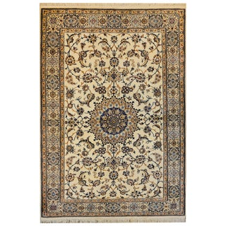 Mesmerizing Silk and Wool Isfahan Rug For Sale