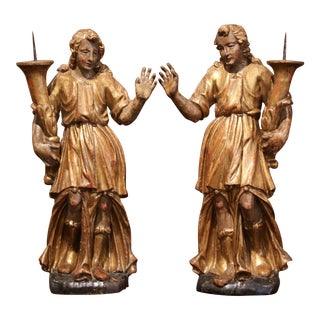 18th Century Italian Carved Giltwood and Polychrome Angel Statues - a Pair For Sale