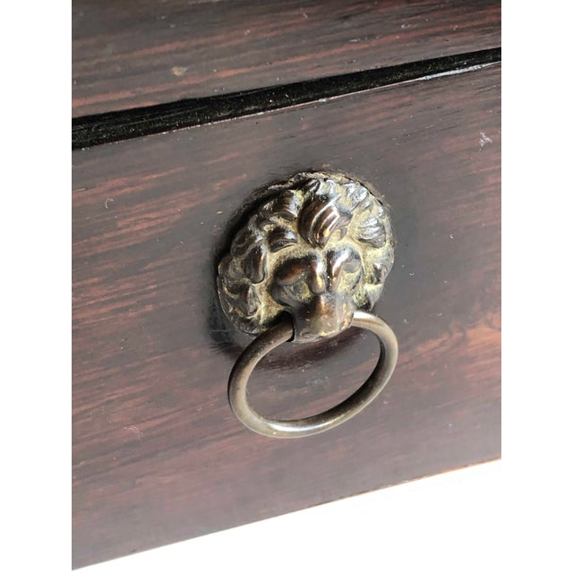 Wood Mahogany Box With Lion Head Handles For Sale - Image 7 of 11