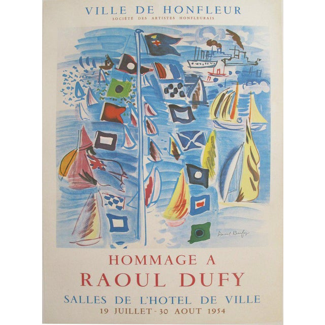 1954 Raoul Dufy Exhibition Poster, Honfleur Harbour Scene For Sale