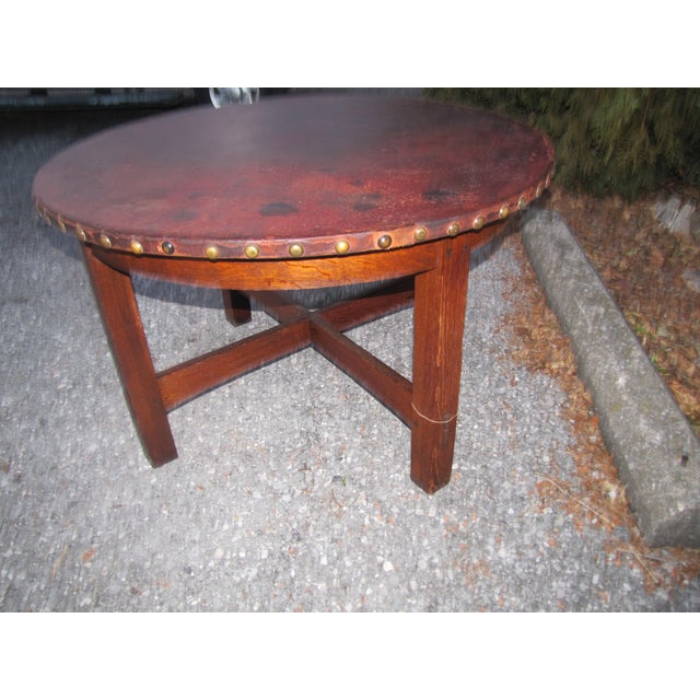 1900s Mission L&jG Stickley Round Leather Top Center Table For Sale - Image 9 of 13