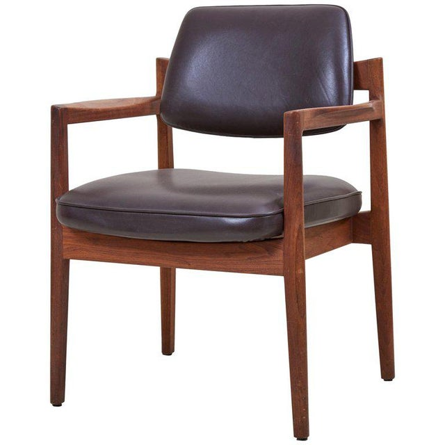 Jens Risom Armchair in Walnut and Leather by Jens Risom Inc. For Sale - Image 11 of 11