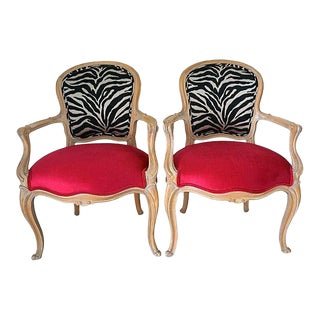 Hollywood Regency Style French Zebra & Hot Pink Chairs- A Pair For Sale