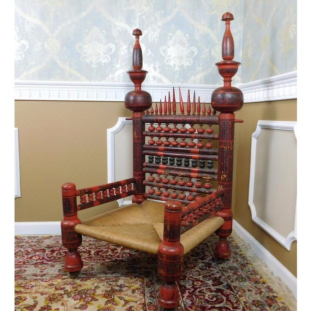 Antique Indian Sankheda Red Lacquered Armchair - Image 4 of 10